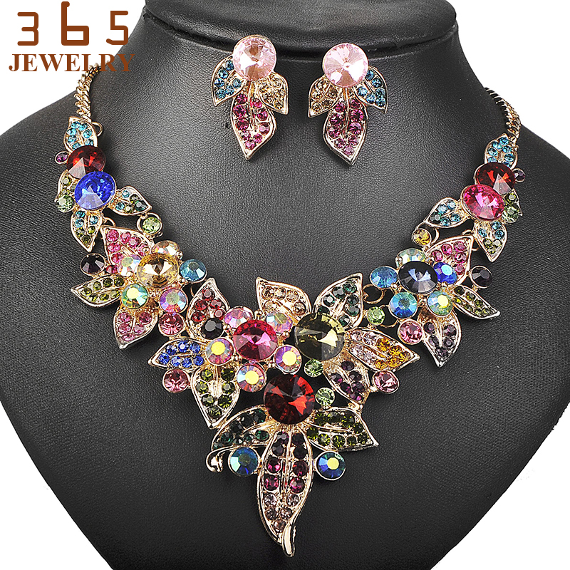 New Colorful Jewellery Sets Full Pearl Beads Gold Color Jewelry ...