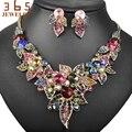 Nuevos Coloridos Conjuntos de Joyas Llena de Perlas de Perlas de Oro de La Joyería de Piedra de Cristal Grande Punky de la Joyería de la Boda para Las Mujeres