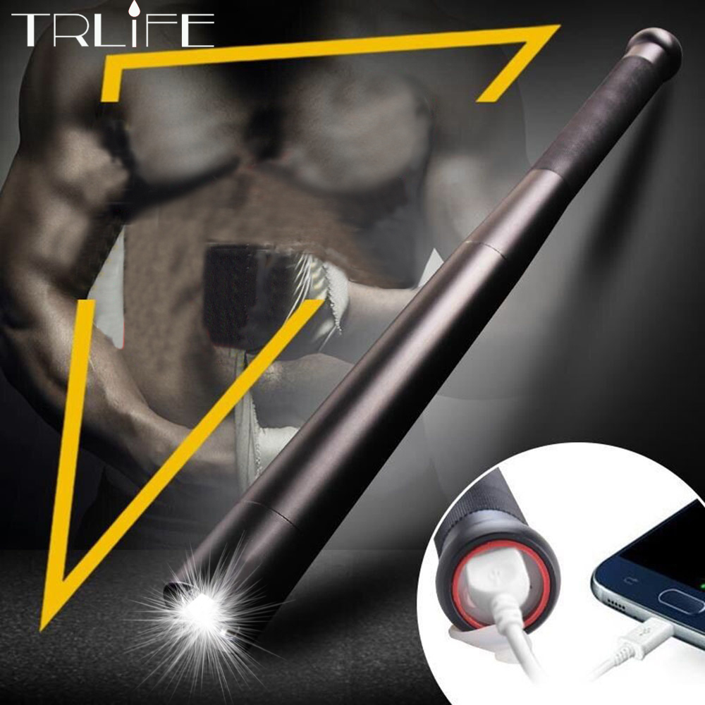USB charger Baseball Bat LED Flashlight T6  Self Defense 8000LM 5modes Flash light for camping Built-in 2*18650 battery