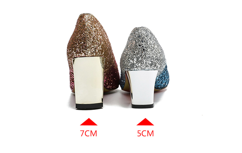 Glitter High Heels Pointed Toe Metal 5cm 2 Inch Big Size Wine Red ... 7c7d1b9a80ba