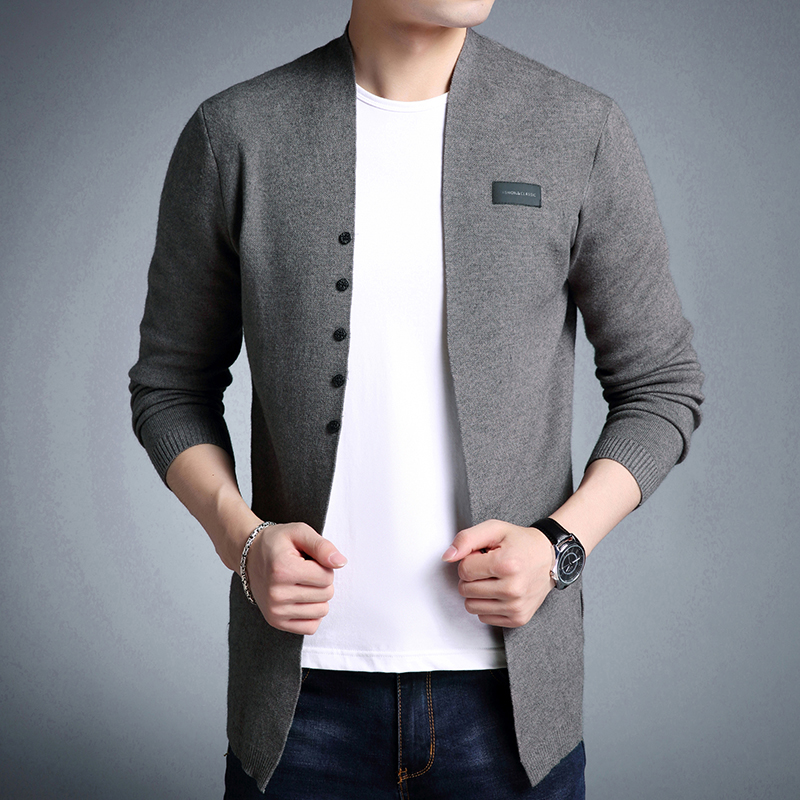 Brand Hot Sell Middle-Long Length Mens Drop Shipping Plus Size Sweater Pure Color Cardigan Cardigan Trench Male Casual Clothes