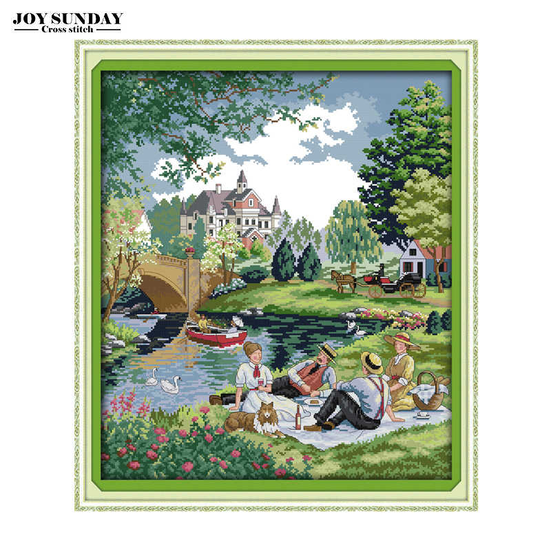 Landscape Patterns Joy Sunday Cross Stitch Printed Cross Stitch Kits DMC 11CT 14CT Cross Stitch Kits Embroidery Needlework Sets