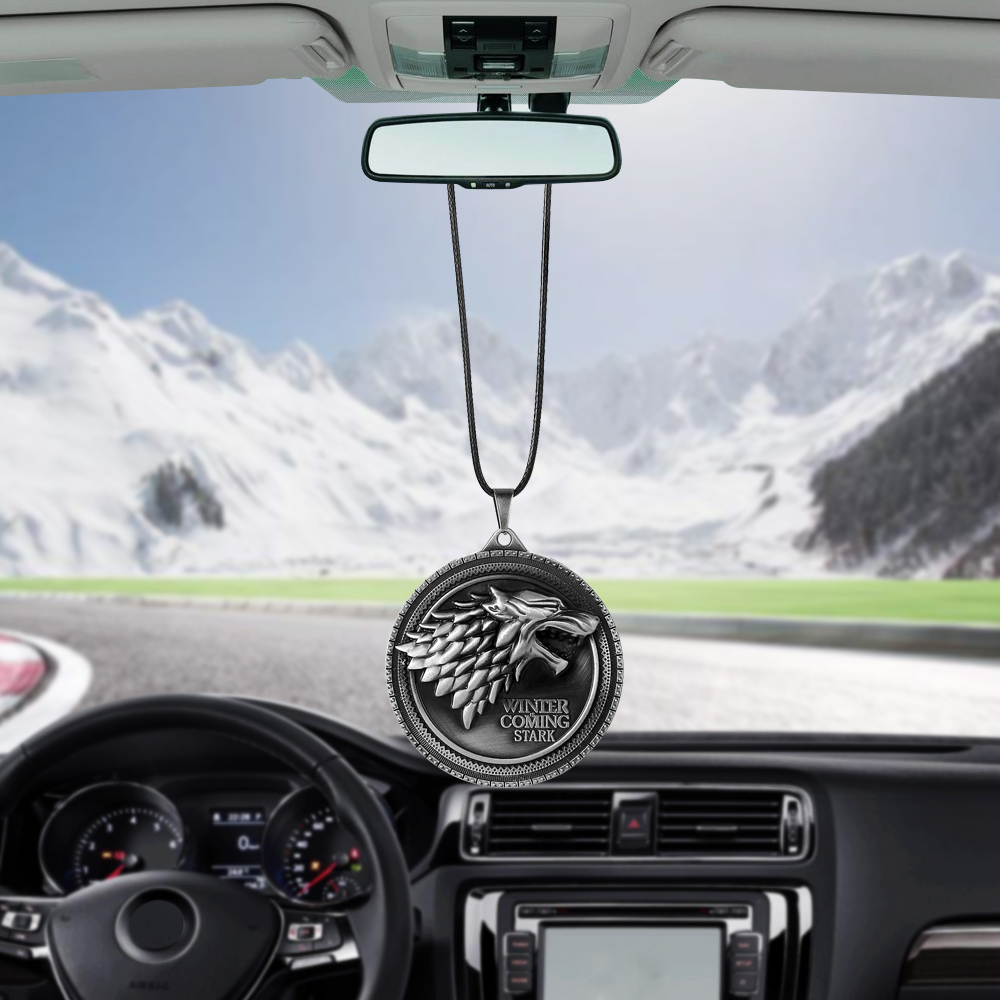 For Game of Thrones House Stark Winter Is Coming Car Rear View Mirror Car Pendant Car Styling Accessories Automobiles Decoration