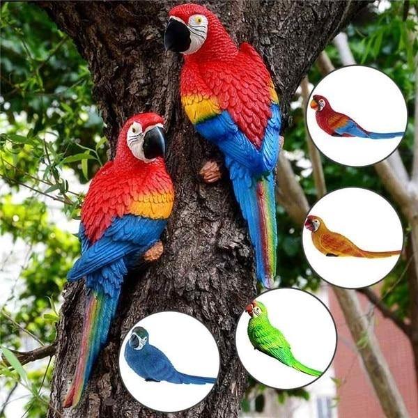Lifelike Resin Parrot Miniature Tree Hanging Wall Decoration Craft Statue Model Garden Lawn Sculpture Outdoor Yard Decoration