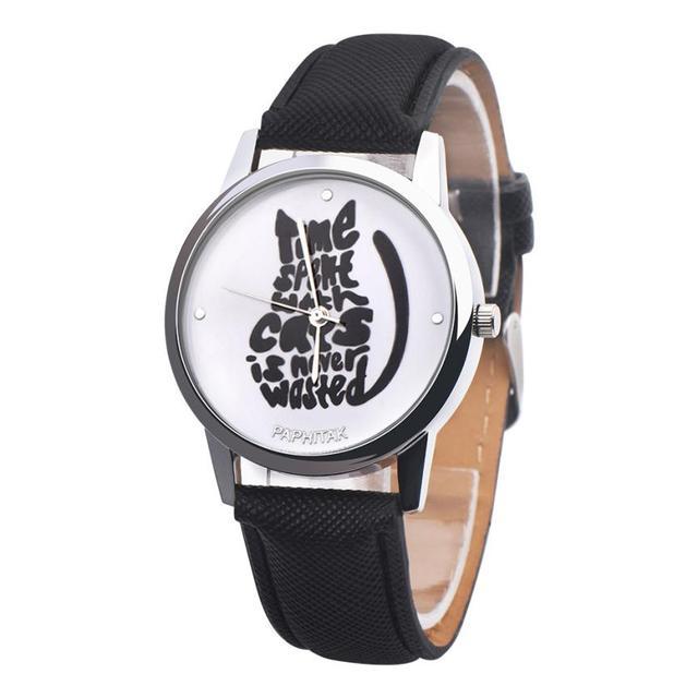 Women's Cute Black Cat Printed Watches
