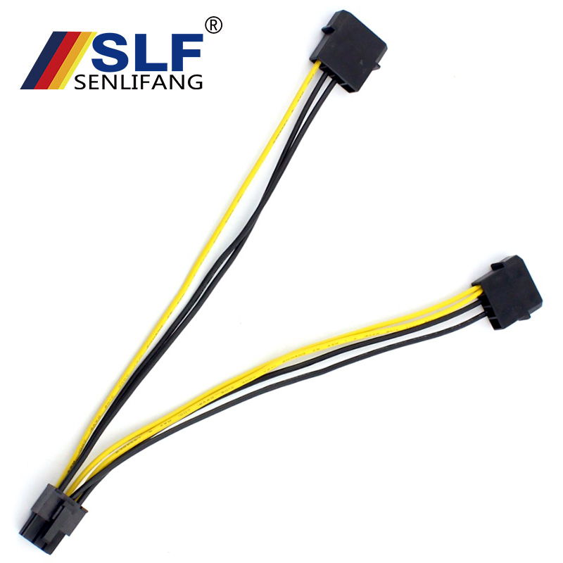 Graphics Card Cable For Molex PCI-Express Adapter Converter Cord 18AWG 20cm For Miner Dual Large 4Pin To 6Pin Power Supply Cable