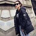 2016 новая мода зима женщины с длинным рукавом вниз хлопок тонкий парки пальто горячая продажа бесплатная доставка
