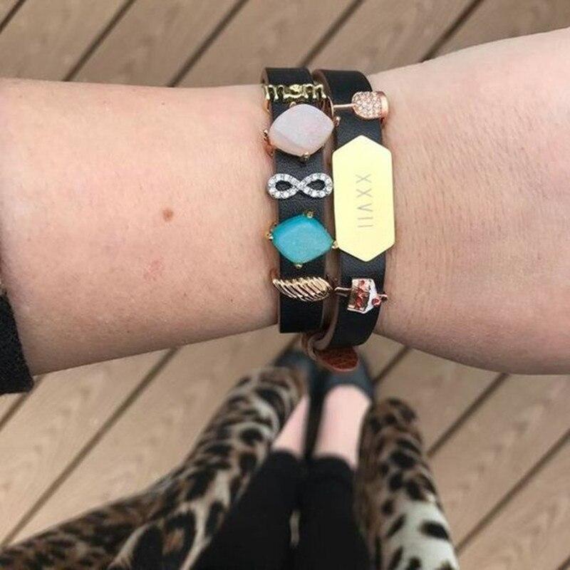 SANSHOOR Delicious Cake Angel Wing Infinity Pave Slide Charms Keys Fit Leather Wrap Bracelets Fashion Women Jewelry