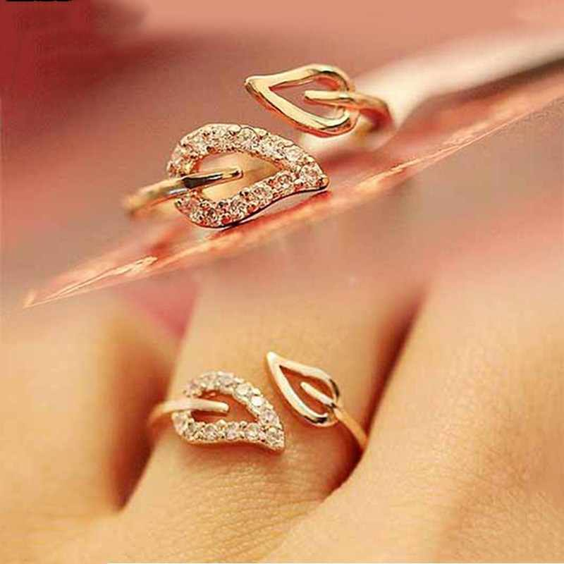 New Fashion Jewelry Leaves Crystal Open Adjustable Finger Rings For Women Rings Bijoux Couple Ring Bague Femmes C460