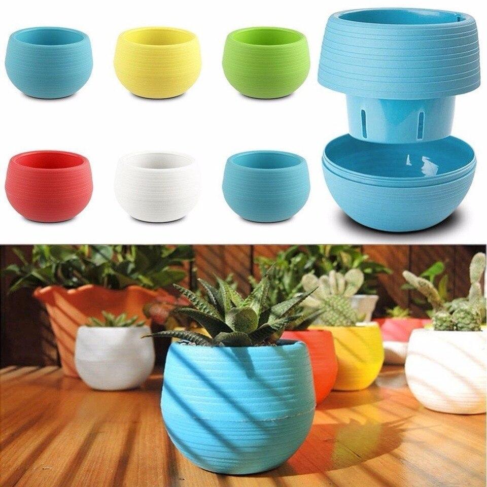 Mini Colorful Round Plastic Plant Flower Pot Home Decor Planter