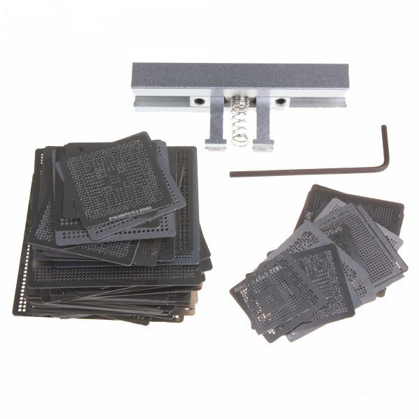 BGA Reballing Kit 199pcs Directly Heat Stencils With Jig Station Chip Template For SMD Soldering Welding Rework Repair Tools latest laptop xbox ps3 bga 170pcs template bga kit 90mm for chip reballing