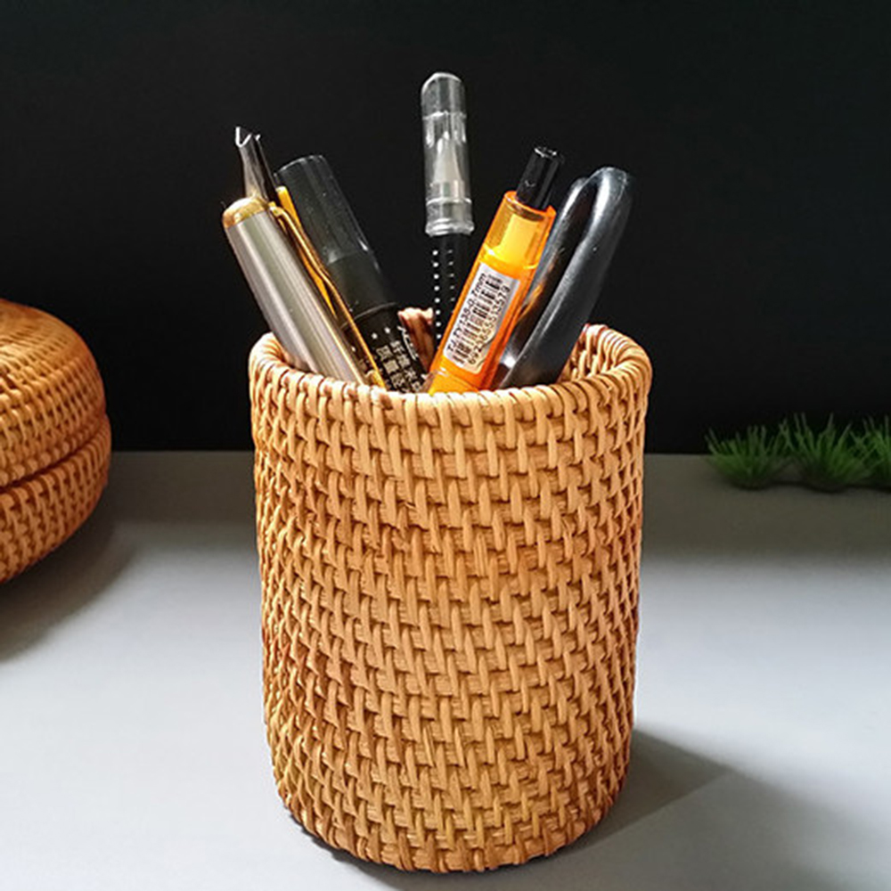 Rattan Pen Holder Pencil Organizer Pen Covers Tea Accessories 10 Cm
