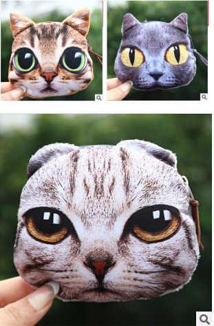 2014 nova chegada 3D gato carteira animal coin bolsas titulares de cartão impresso gato chave carteiras para as mulheres 13*11 cm 100 pçs/lote bolsa