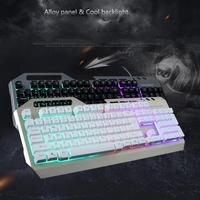 AMZDEAL 7 Color Rainbow Back Light 104 Keys Keyboard Keypad With Phone Bracket Ergonomically for Gamer for Desktop Laptop PC