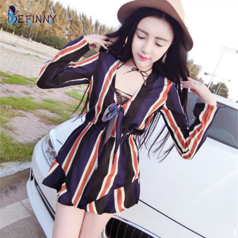EFINNY Vintage Women Bow Striped Jumpsuit Romper Summer Style Long Sleeve Overalls Playsuits