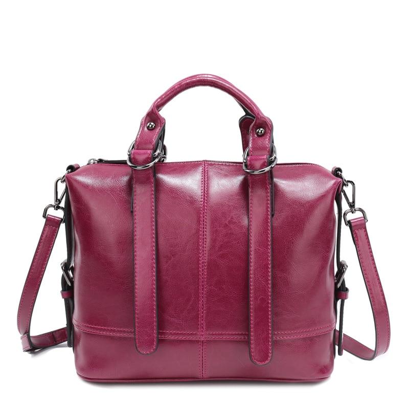 ФОТО 2016 Luxury Women Oil Wax Genuine Leather Large Handbags Ladies Real Leather Totes Bags Women Shoulder Messenger Bags Bolsos