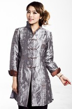 Silver Chinese Women's Silk Satin Embroidery Long Jacket Coat Flowers Size S M L XL XXL XXXL  Free Shipping MN 0122