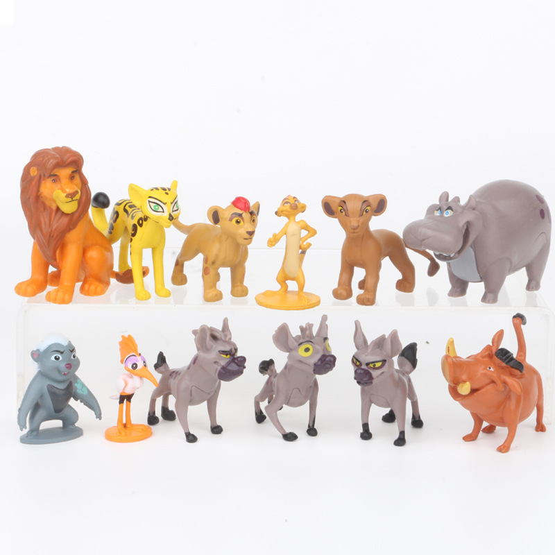 12pcs/set Cartoon The Lion Guard King Kion Simba PVC Action Figures Bunga Beshte Fuli Ono Figurines Doll Kids Toys