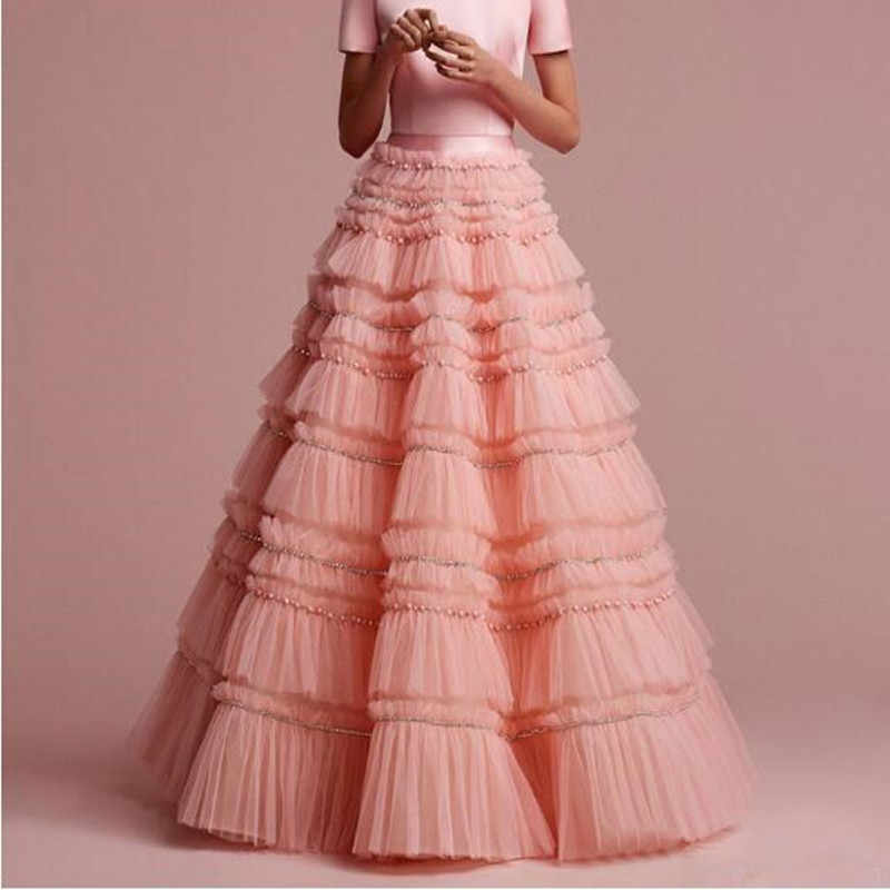 46bdfc657c0b0 Boutique Tiered Beaded Tulle Skirt Fashion Puffy Ruffles Cake Layers Long  Skirts Womens Maxi Saias Jupe Skirt Prom Party Gowns