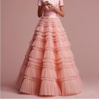 Boutique Tiered Beaded Tulle Skirt Fashion Puffy Ruffles Cake Layers Long Skirts Womens Maxi Saias Jupe Skirt Prom Party Gowns