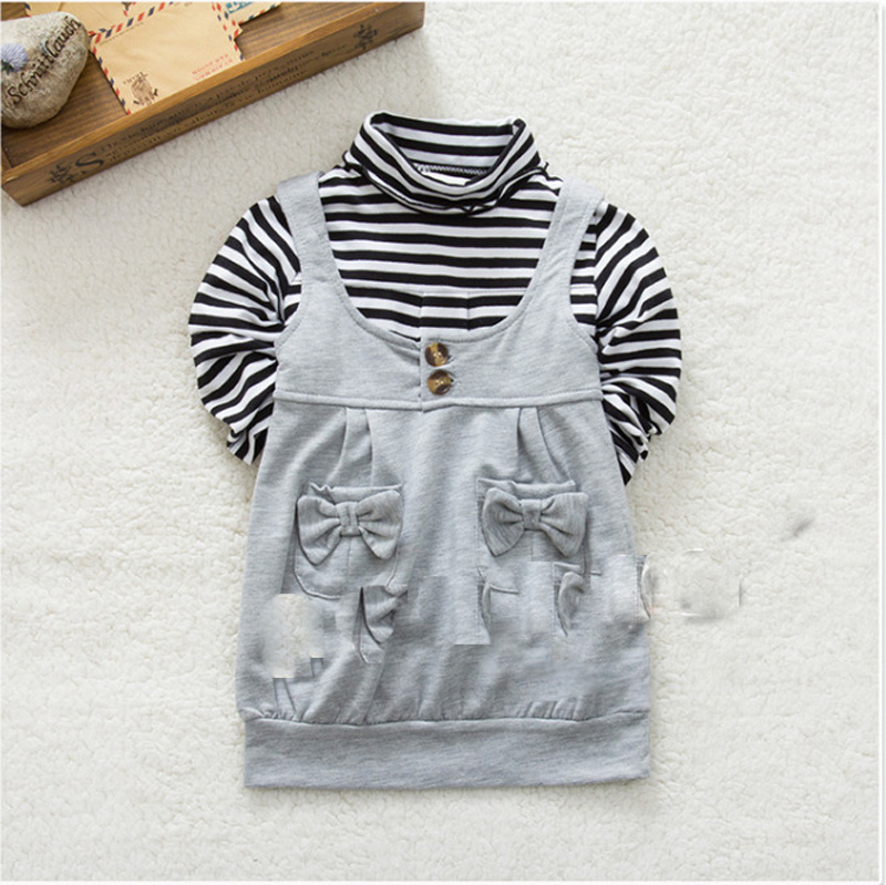 High Quality Winter Kids Gir Clothing Set Fashion Stripe Pattern Long Sleeve T shirt+Bow Pocket Vest 2pcs Suit Brand Baby Set fashion easy matched stripe pattern shirt