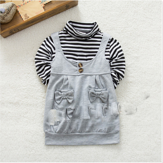 High Quality Winter Kids Gir Clothing Set Fashion Stripe Pattern Long Sleeve T shirt+Bow Pocket Vest 2pcs Suit Brand Baby Set