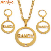 Anniyo RANDY Pendant Necklaces and Earrings set for Women Stainless Steel Jewelry Gifts (CANNOT CUSTOMIZE THE NAME) #034321
