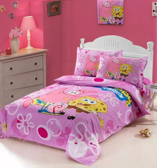 Pink Color Spongebob Comforter Bedding Sets Single Twin Size Bed Duvet Covers Bedspread Cotton Children S Bedroom