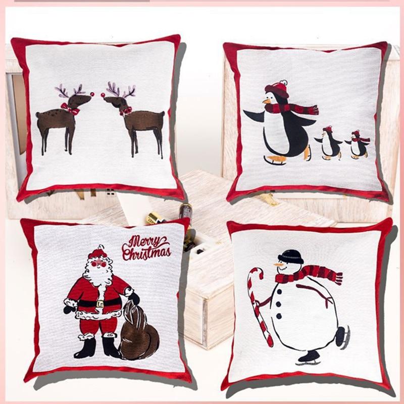 Mais novo Decoração de Natal Acessórios Linen Fronha de Natal Enfeites para Casa Enfeites de Natal Presentes de Ano Novo Navidad Noel