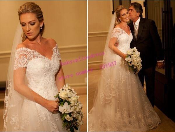 New Fashionable Appliques Short Sleeve Vestido De Novia Casamento Bridal Gown Sexy A-line Lace 2018 Mother Of The Bride Dresses