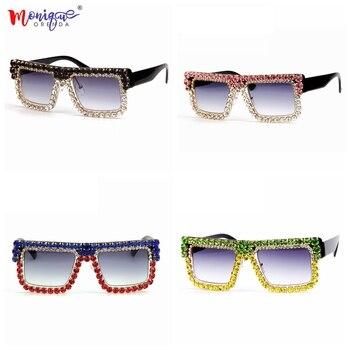 5 Desain Mewah Persegi Sunglasses Wanita Retro Merek Desainer Berlian Imitasi Femne Lunettes de Sol Kacamata Matahari Kacamata Perempuan
