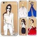 Para iphone 6 6 s plus 6 más 5 5S sí 4 4S 5c cajas del teléfono de tpu suave transparente vestido sexy girls capa comercial moderno case cubierta