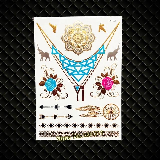 Gold Henna Sunflower Metallic Water Transfer Disposable Tattoo Rose