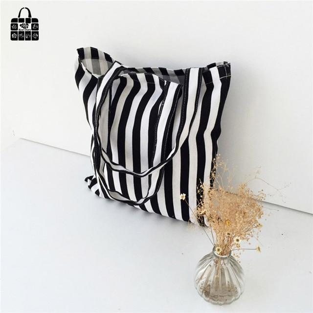 Classic black&white stripes 100% cotton canvas Handbags large capacity Shopping Beach Bags Women Girl Shoulder bags 4