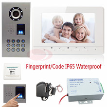 Video Intercoms Fingerprint Recognition And Password Unlock Video Door Phone With Intercom Infrared Night Vision 7″ Color LCD