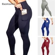 BlackArachnia пикантные Для женщин спортивные Леггинсы для йоги телефон карман фитнес брюки для бега эластичная спортивная одежда тренажерный зал Леггинсы облегающие штаны для йоги