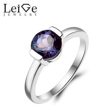 Leige Jewelry Alexandrite Ring Wedding Ring Round Cut Color Changing Gemstone Solid 925 Sterling Silver June Birthstone Ring