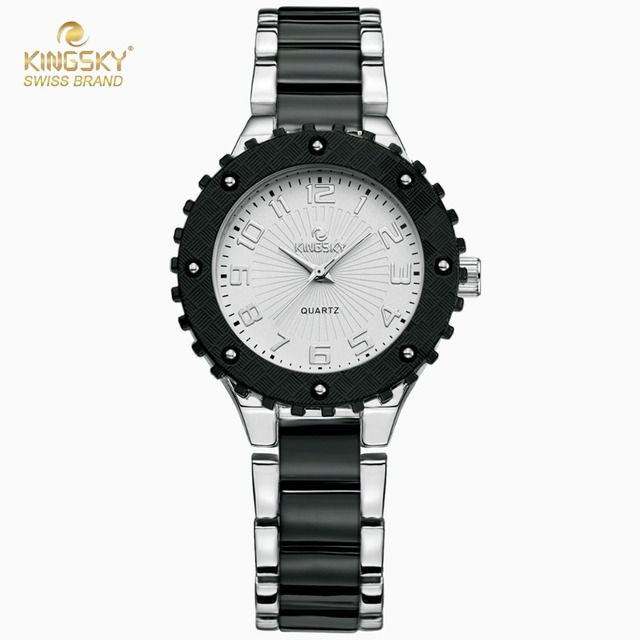 cdf35544052a Kingsky Top Brand Luxury Watch Women Black Silver Imitation Ceramic Quartz  Watch Fashion Women Dress Wrist
