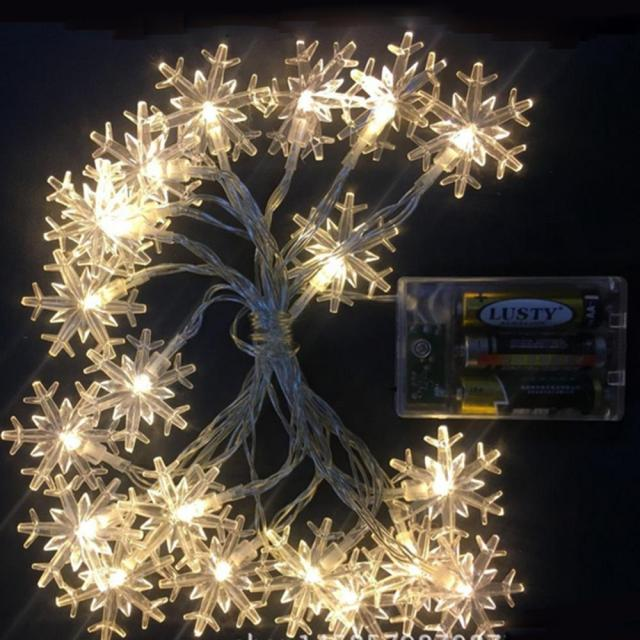 25m 20 led fairy lights battery powered warm white christmas lights outdoor indoor snowflake string