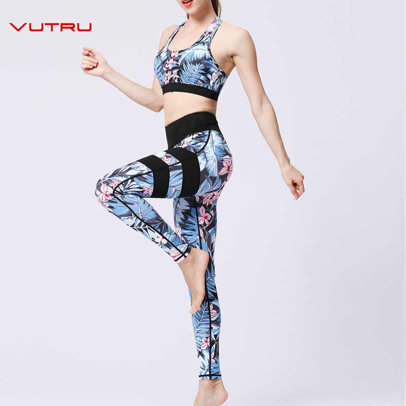 5aa0945d881 Vutru Women Fitness Clothes Gym Yoga Set Flower Print Tracksuits Crop Top  Yoga Bra+Seamless