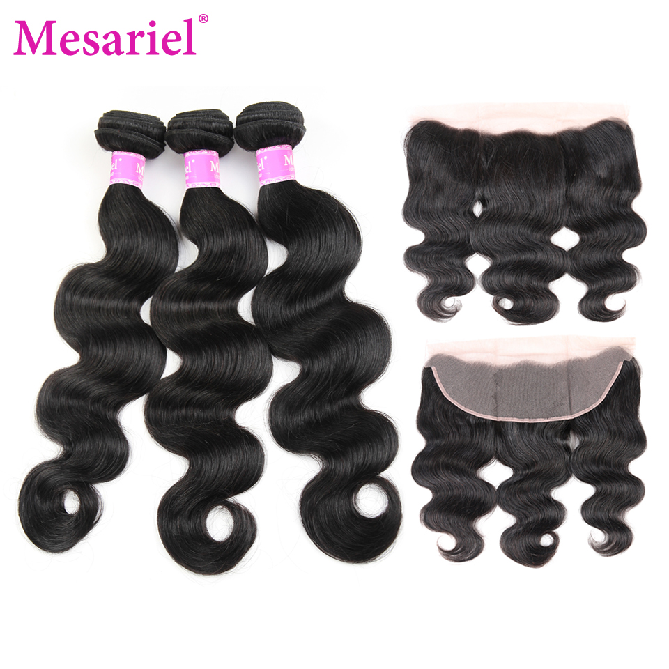 Mesariel Hair Body Wave 3 Bundles With Free Part Frontal Closure Non-Remy Human Hair Brazilian Body Wave Bundles With Frontal