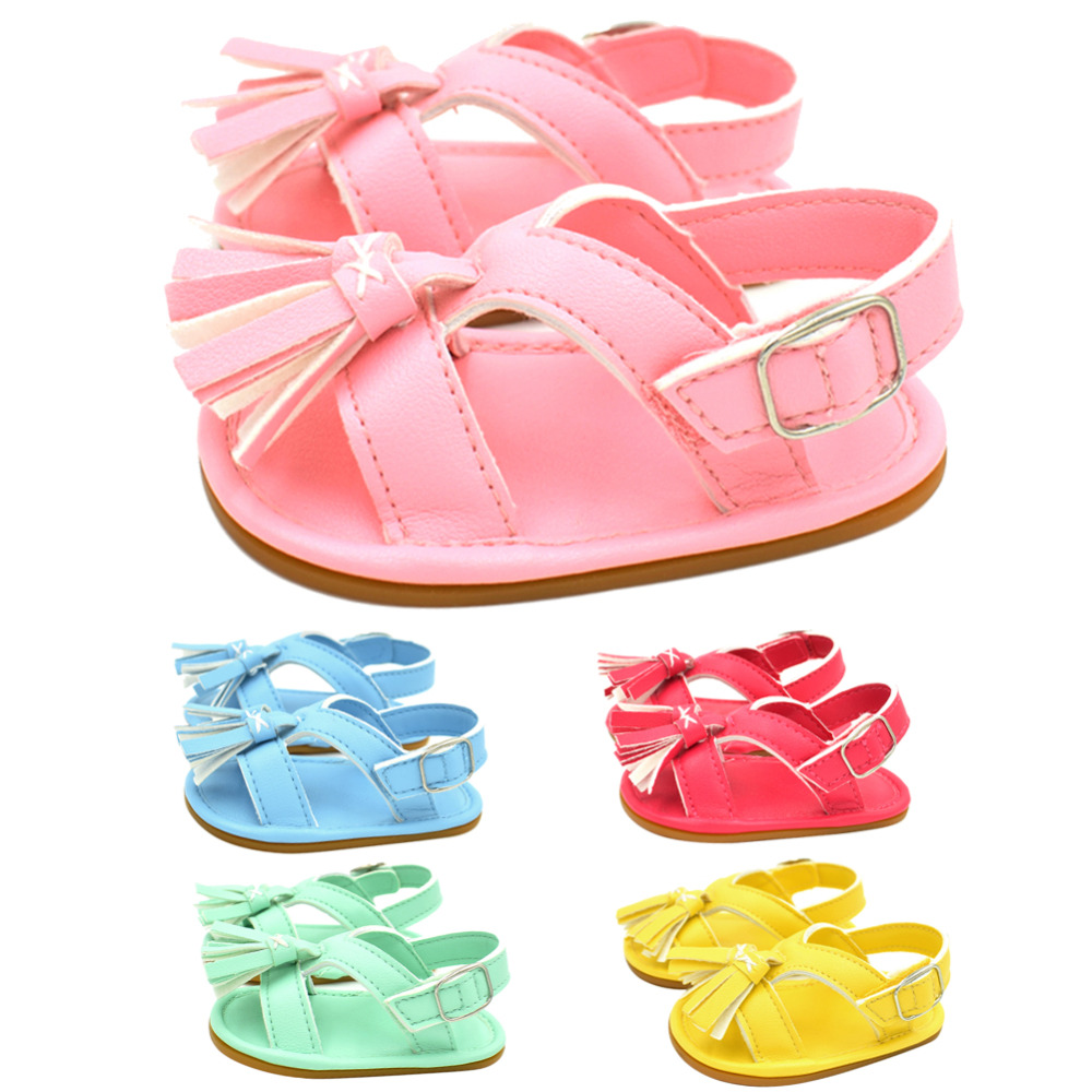 Summer Baby First Walkers Shoes Soft Anti-slip Solid Tassels Infant Pre-walk Candy Colored Shoes for 0-18 M Baby Sweet Girls