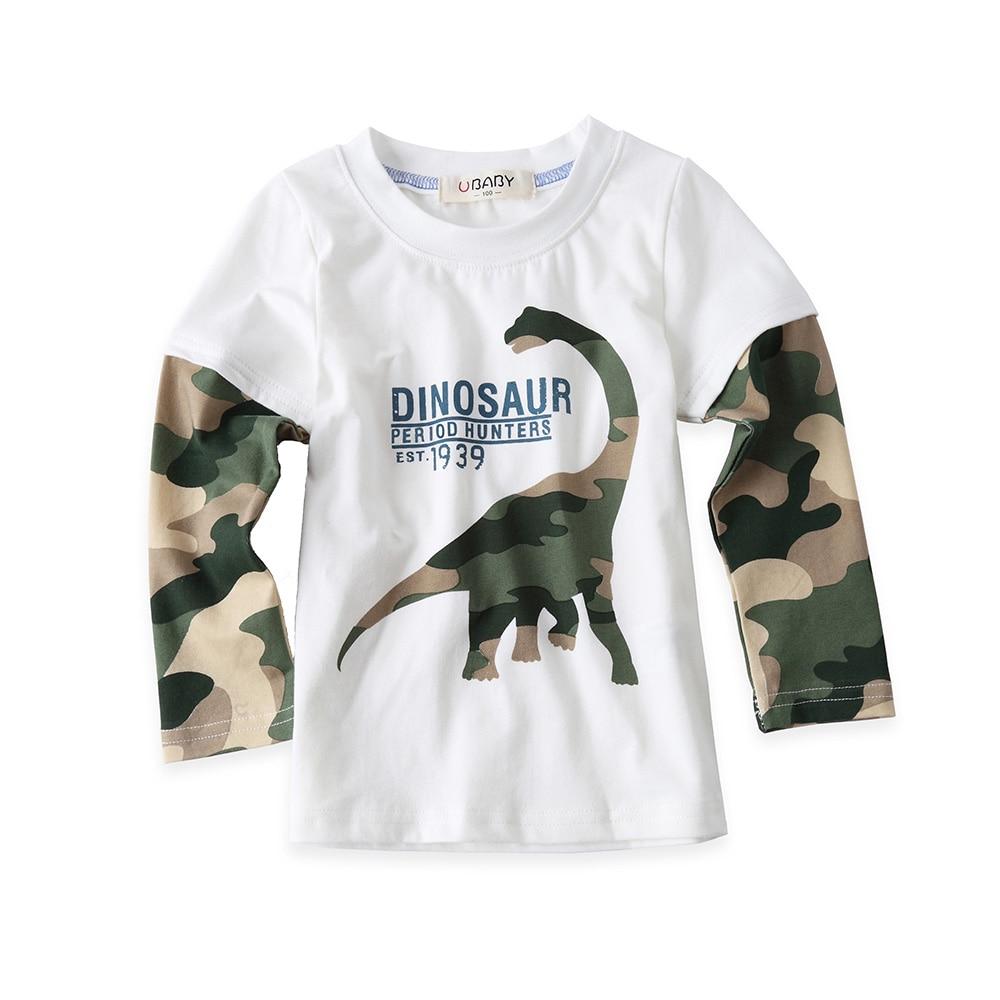 Cool Cartoon Dinosaur Boys Long Sleeve T Shirt For 18M-8Years Children Kids Boys Tops Tees Baby Child Cotton T Shirt Retails