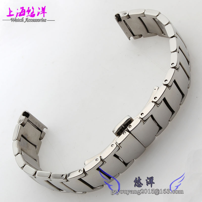 Stainless steel strap hook steel belt fit men and women watch 20 mm steel belt