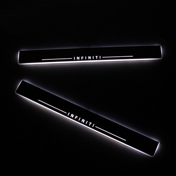 SNCN LED Car Scuff Plate Trim Pedal Door Sill Pathway Moving Welcome Light For Infiniti Q50 Q70 2013 2014 2015 Accessories car styling led moving door scuff for land rover evoque 2013 15 door sill plate led welcome pedal led brand logo drl accessories