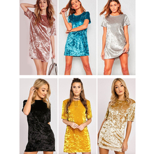 Casual Summer Women Dress Loose Solid Short Sleeve Velvet Dress Sexy Party Mini Dresses Robe Vestidos de fiesta