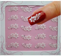 1Pack !!! Fashion 3D White Flower Glitter Nail Art Water Transfer Sticker Nail Art Tips Wraps DIY Nail Beauty Accessories XF149