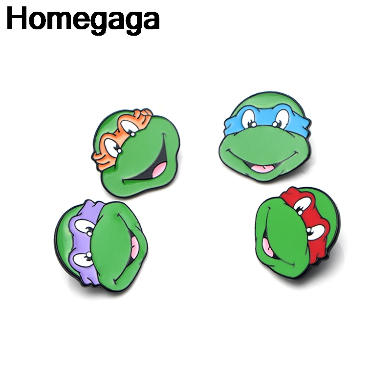Homegaga Turtles Zinc Cartoon Pins for men women para Shirt Charm Coat Clothes backpack Accessories medal Badges Brooches D2140 in Badges from Home Garden