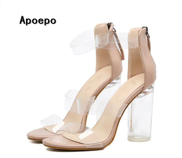 Summer hot selling transparent PVC patchwork high heel sandal sexy open toe thick heels woman shoes ankle strap gladiator shoes hot selling black leather sandal high heel summer open toe chains decorations gladiator sandal woman cutouts thin heels shoes