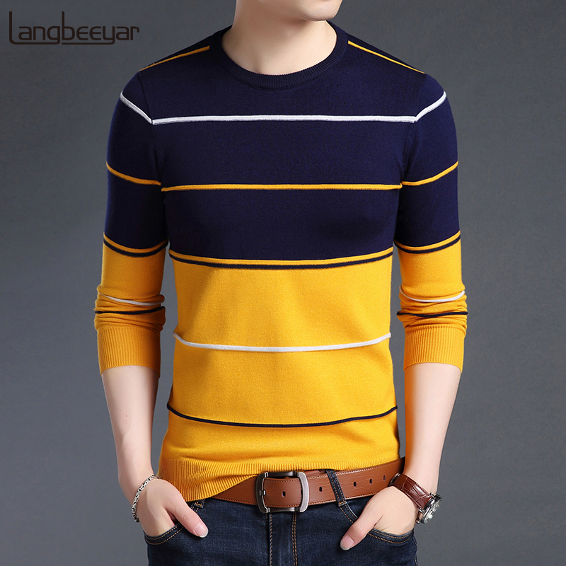 Men Jumpers Slim-Fit Brand Sweater Woolen Korean-Style Autumn Striped Casual New-Fashion
